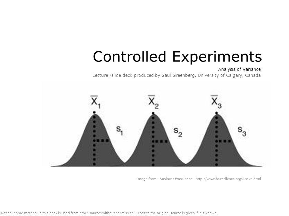 Controlled Experiments Analysis of Variance Lecture /slide deck produced by Saul Greenberg, University of Calgary, Canada Notice: some material in this deck is used from other sources without permission.