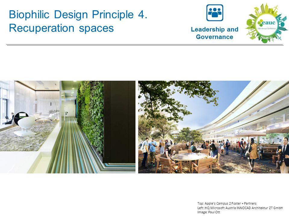 Biophilic Design Principle 4. Recuperation spaces Top: Apple's Campus 2 Foster + Partners Left: HQ Microsoft Austria INNOCAD Architektur ZT GmbH Image