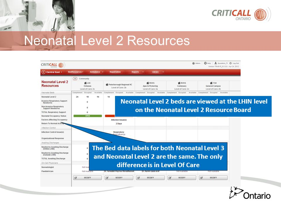 Neonatal Level 2 Resources Neonatal Level 2 beds are viewed at the LHIN level on the Neonatal Level 2 Resource Board The Bed data labels for both Neon