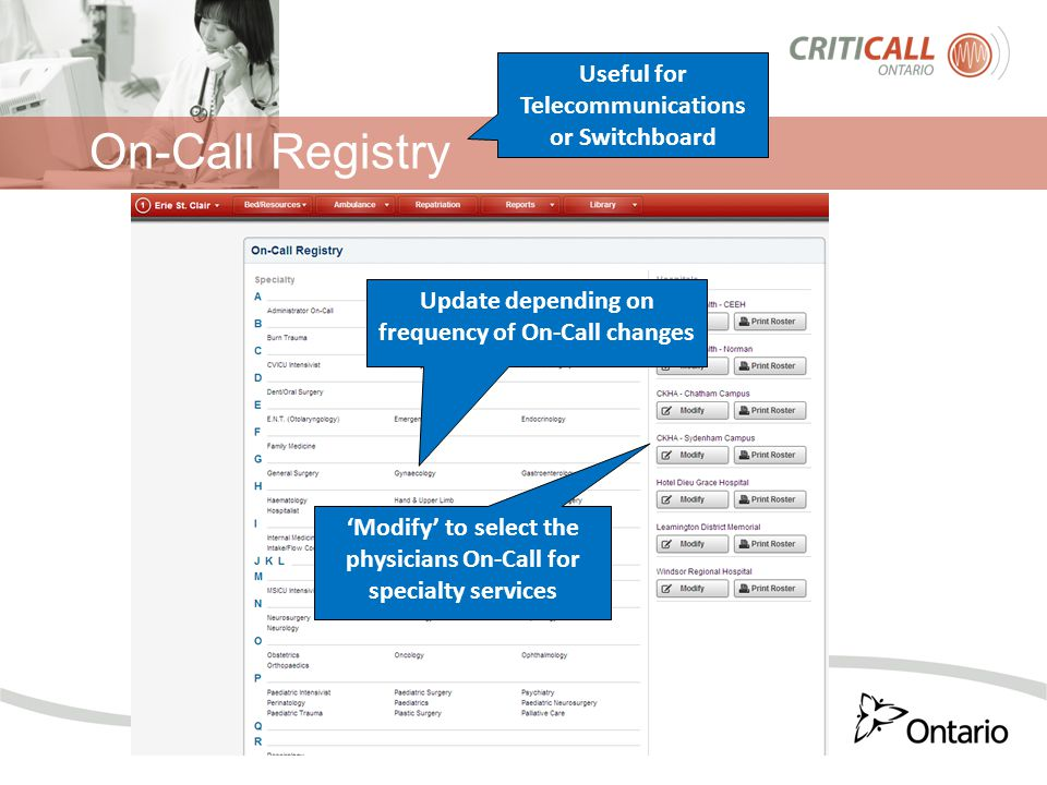 On-Call Registry Useful for Telecommunications or Switchboard Update depending on frequency of On-Call changes 'Modify' to select the physicians On-Call for specialty services