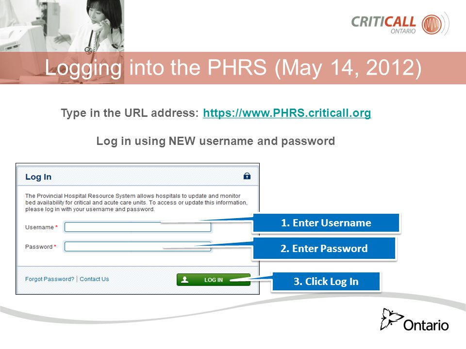 Logging into the PHRS (May 14, 2012) 1. Enter Username 2.