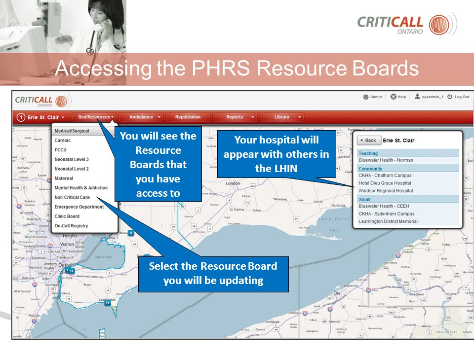 Accessing the PHRS Resource Boards Your hospital will appear with others in the LHIN You will see the Resource Boards that you have access to Select t