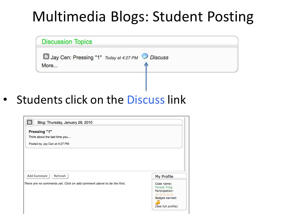 Multimedia Blogs: Student Posting Students click on the Discuss link