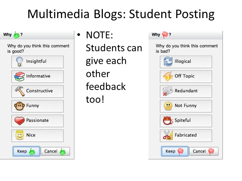 Multimedia Blogs: Student Posting NOTE: Students can give each other feedback too!