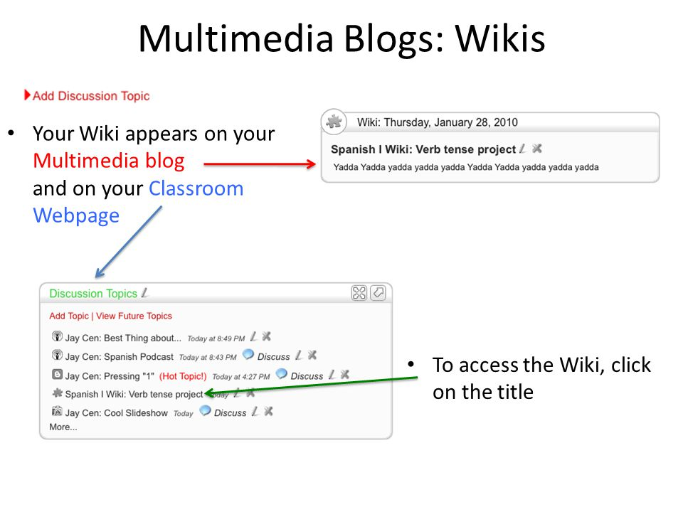Multimedia Blogs: Wikis Your Wiki appears on your Multimedia blog and on your Classroom Webpage To access the Wiki, click on the title