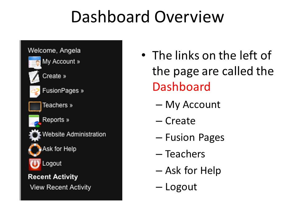 Dashboard Overview The links on the left of the page are called the Dashboard – My Account – Create – Fusion Pages – Teachers – Ask for Help – Logout