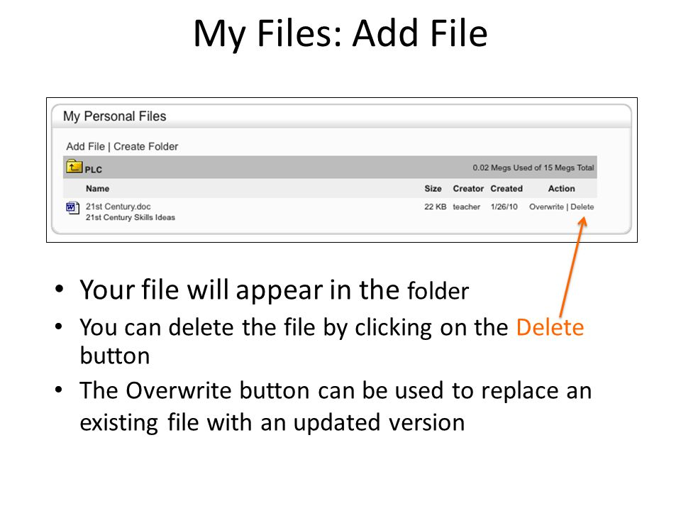 My Files: Add File Your file will appear in the folder You can delete the file by clicking on the Delete button The Overwrite button can be used to re