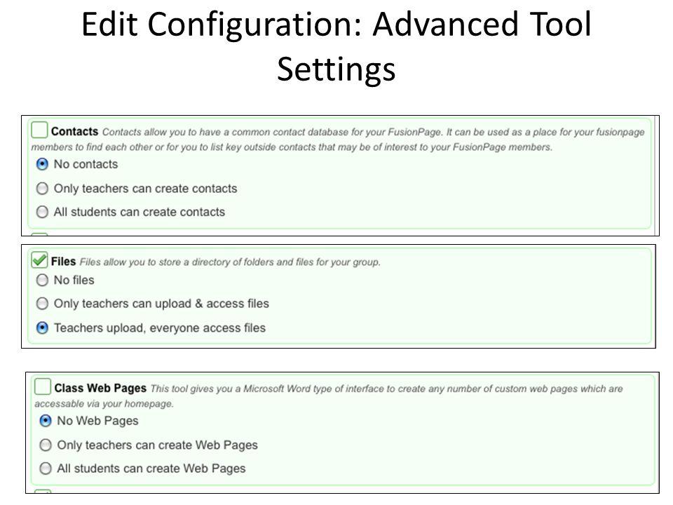 Edit Configuration: Advanced Tool Settings