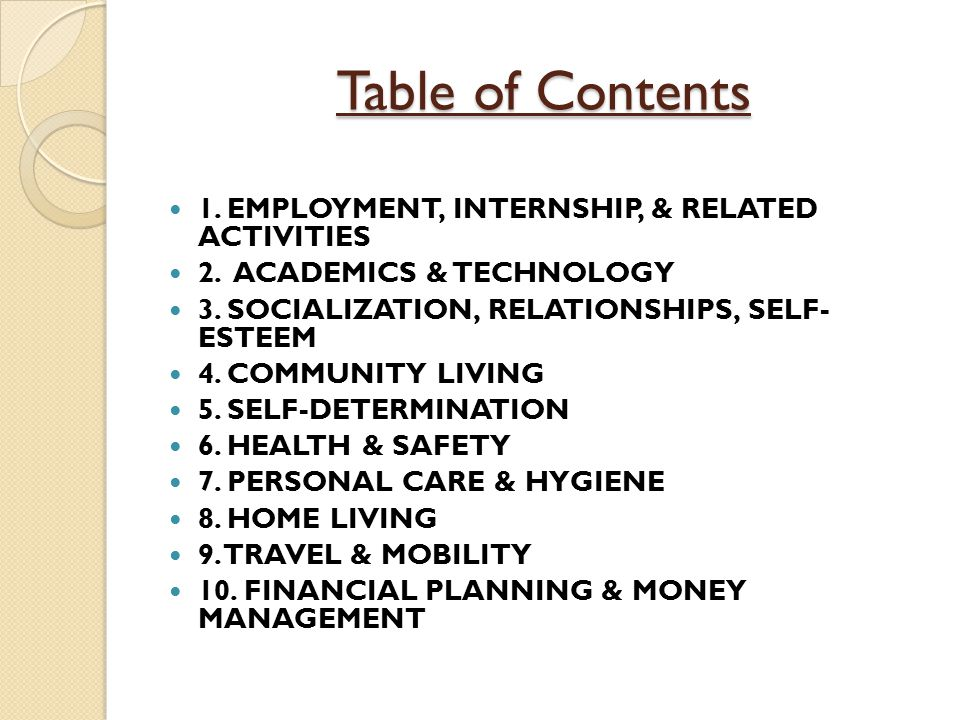 Table of Contents 1. EMPLOYMENT, INTERNSHIP, & RELATED ACTIVITIES 2.