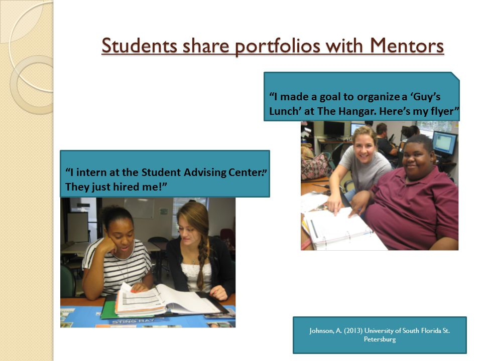 Students share portfolios with Mentors I intern at the Student Advising Center.