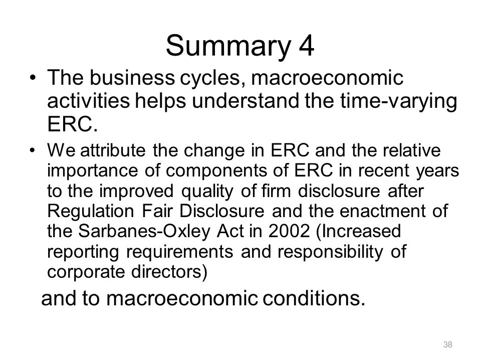 Summary 4 The business cycles, macroeconomic activities helps understand the time-varying ERC. We attribute the change in ERC and the relative importa