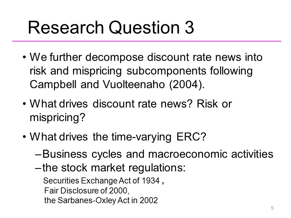 Research Question 3 We further decompose discount rate news into risk and mispricing subcomponents following Campbell and Vuolteenaho (2004). What dri