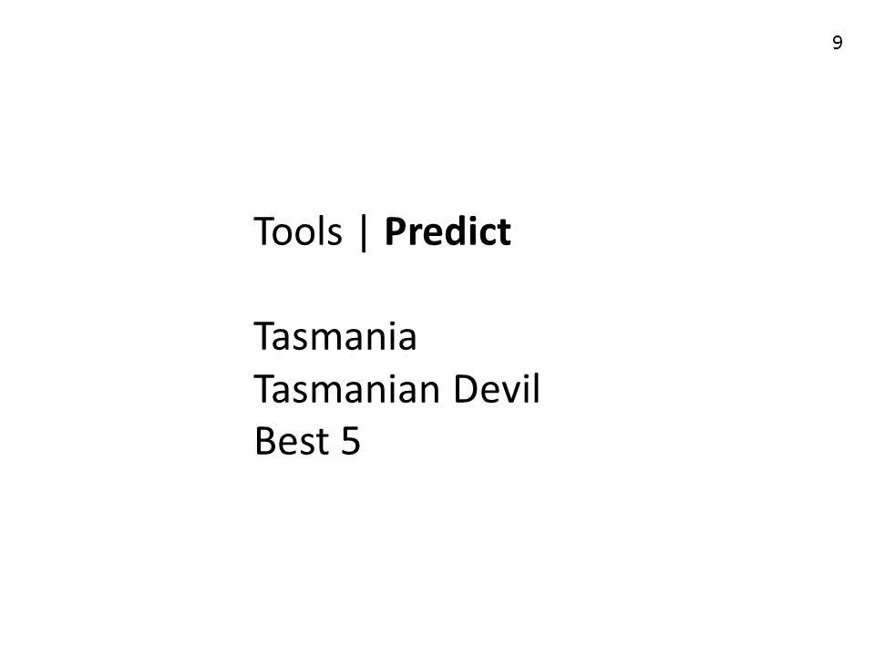 Tools | Predict Tasmania Tasmanian Devil Best 5 9