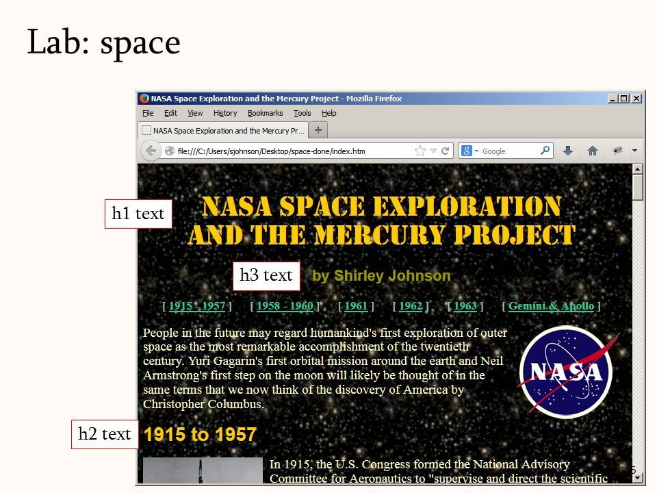 Lab: space 115 h1 text h2 text h3 text