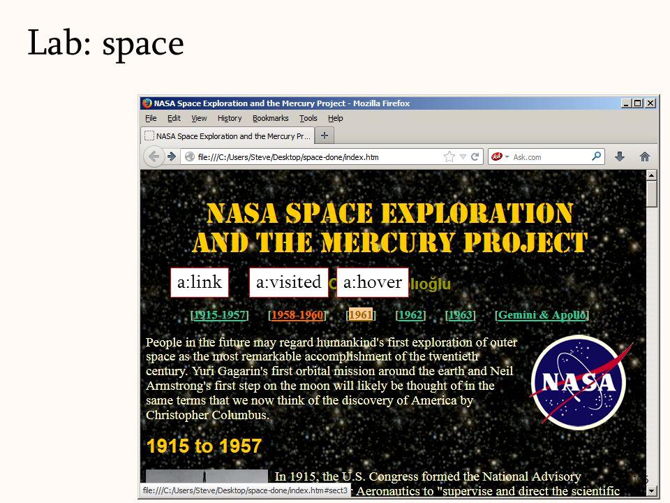 Lab: space 125 a:linka:visiteda:hover
