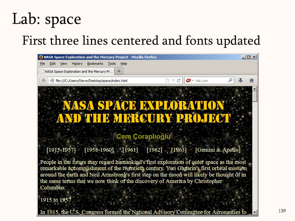 Lab: space 139 First three lines centered and fonts updated