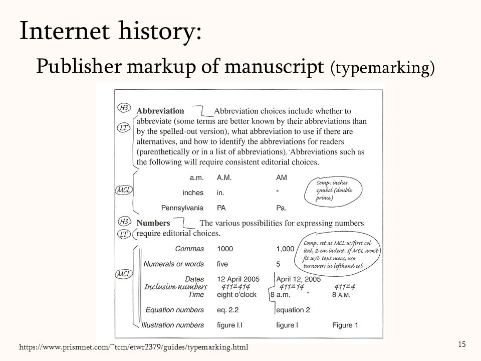 Publisher markup of manuscript (typemarking) 15 Internet history: https://www.prismnet.com/~tcm/etwr2379/guides/typemarking.html