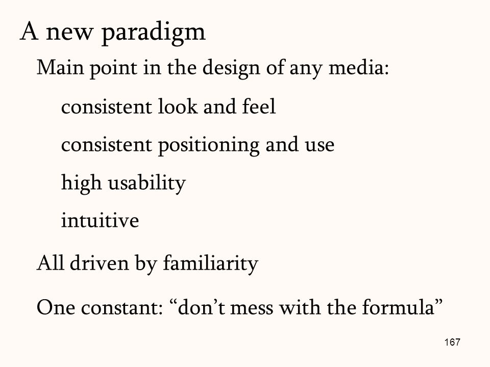 167 Main point in the design of any media: consistent look and feel consistent positioning and use high usability intuitive All driven by familiarity One constant: don't mess with the formula A new paradigm