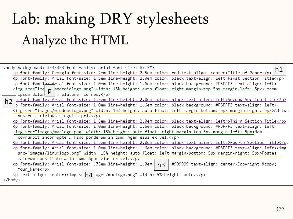 Analyze the HTML Lab: making DRY stylesheets 179 Title of Paper First Section Title Lorem ipsum dolor sit … platonem id nec.