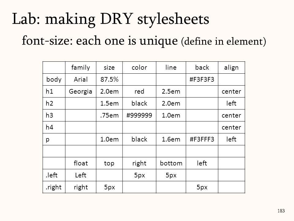 font-size: each one is unique (define in element) Lab: making DRY stylesheets 183 familysizecolorlinebackalign bodyArial87.5%#F3F3F3 h1Georgia2.0emred2.5emcenter h21.5emblack2.0emleft h3.75em#9999991.0emcenter h4center p1.0emblack1.6em#F3FFF3left floattoprightbottomleft.leftLeft5px.rightright5px