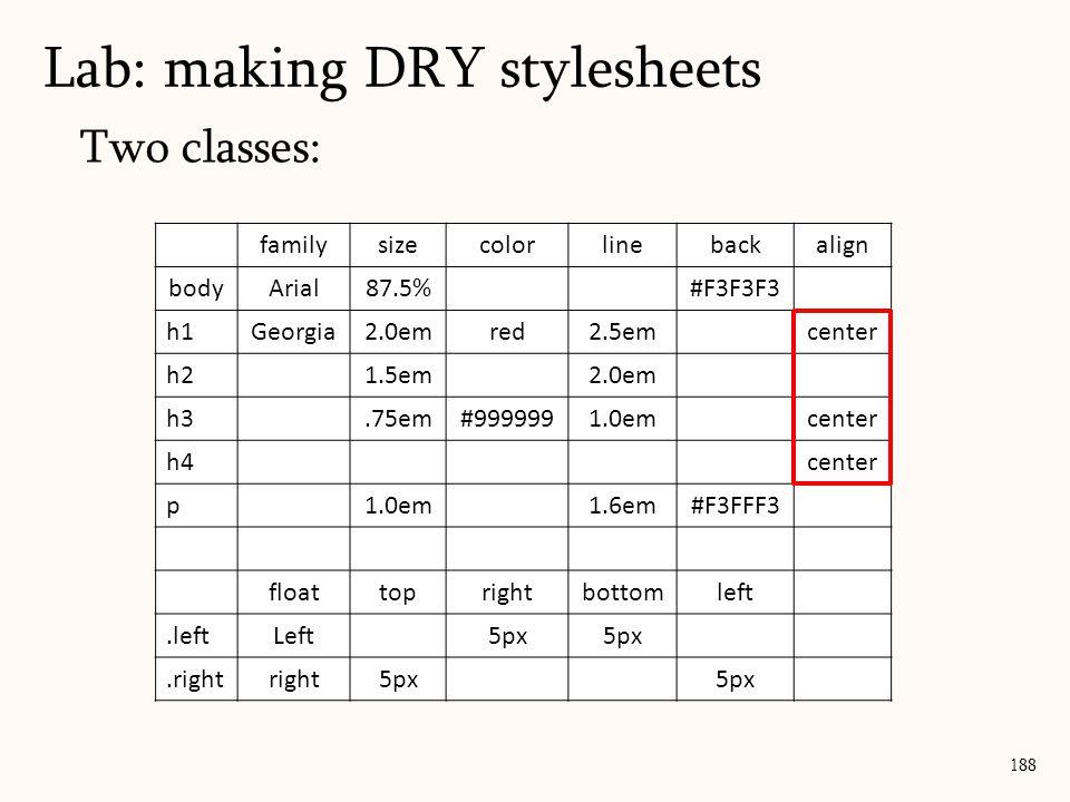 Two classes: Lab: making DRY stylesheets 188 familysizecolorlinebackalign bodyArial87.5%#F3F3F3 h1Georgia2.0emred2.5emcenter h21.5em2.0em h3.75em#9999991.0emcenter h4center p1.0em1.6em#F3FFF3 floattoprightbottomleft.leftLeft5px.rightright5px