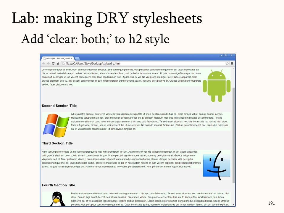 Add 'clear: both;' to h2 style Lab: making DRY stylesheets 191