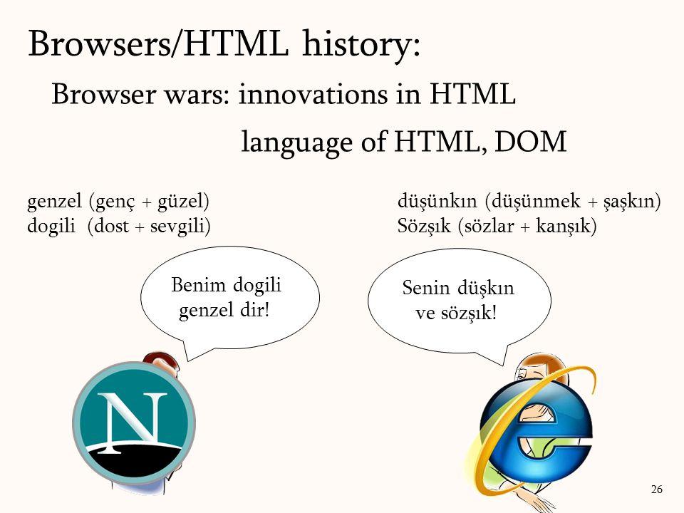 Browser wars: innovations in HTML language of HTML, DOM Browsers/HTML history: 26 genzel (genç + güzel) dogili (dost + sevgili) düşünkın (düşünmek + şaşkın) Sözşık (sözlar + kanşık) Senin düşkın ve sözşık.
