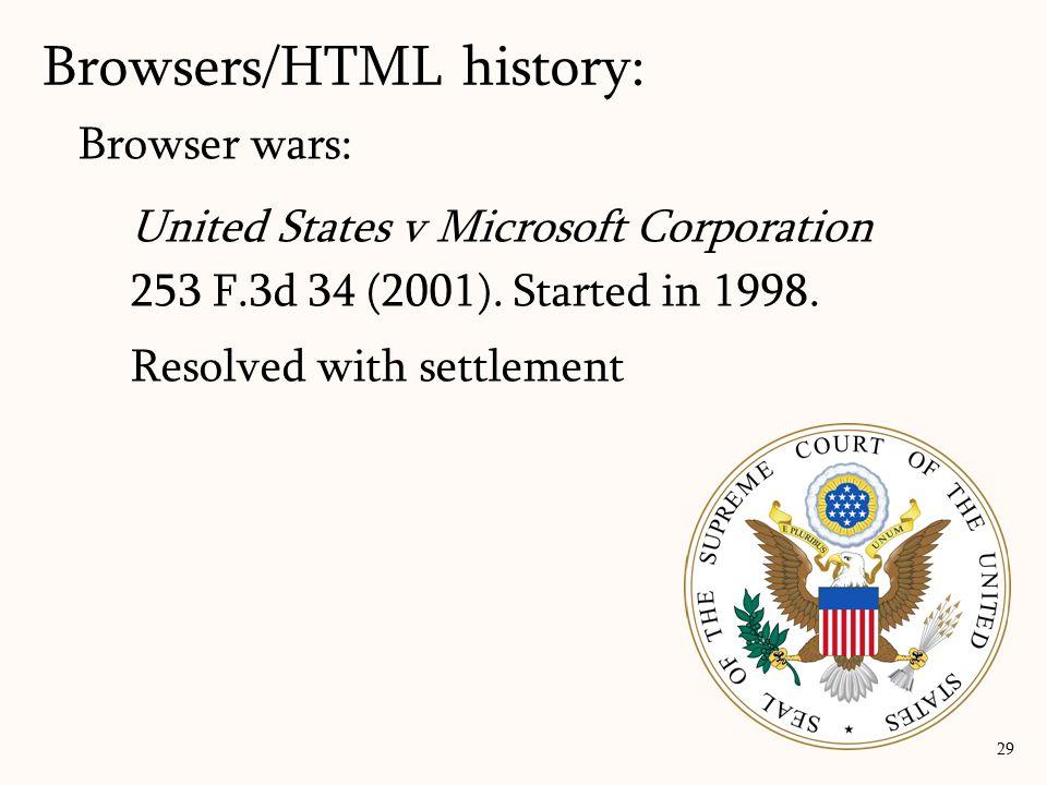 Browser wars: United States v Microsoft Corporation 253 F.3d 34 (2001).