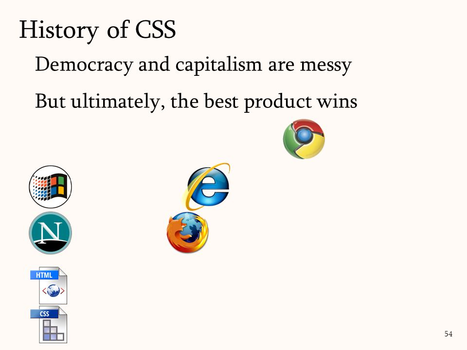 Democracy and capitalism are messy But ultimately, the best product wins History of CSS 54