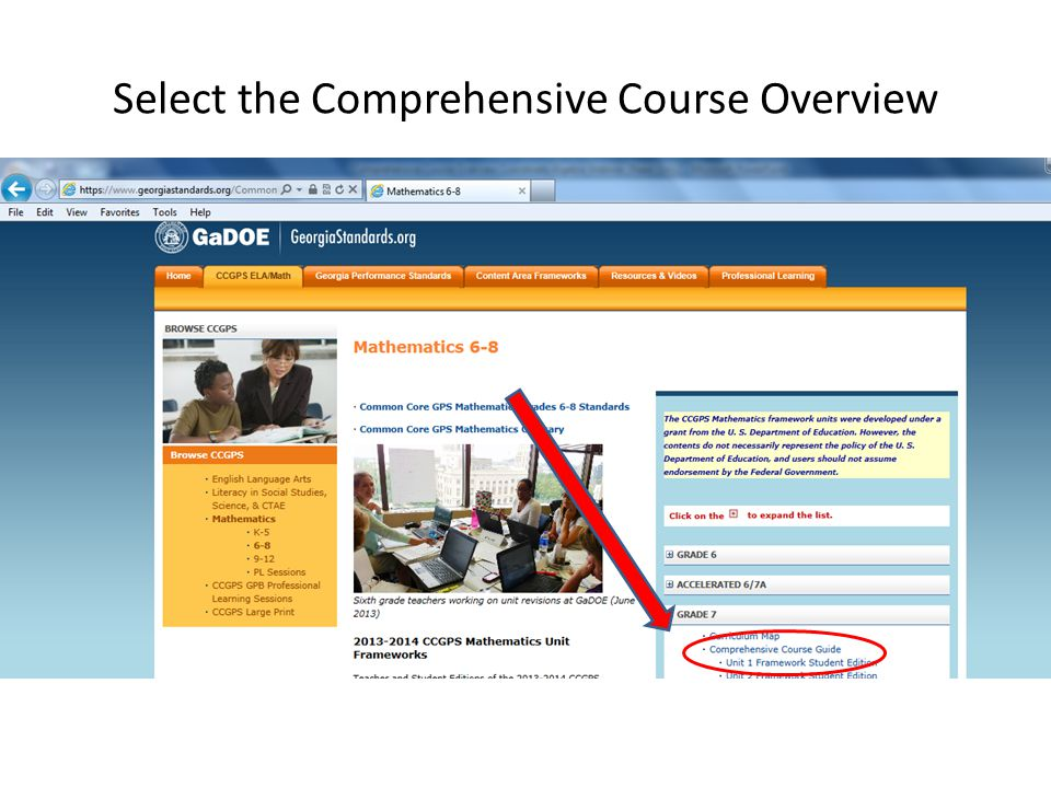 Select the Comprehensive Course Overview Expande Coordinate Algebra