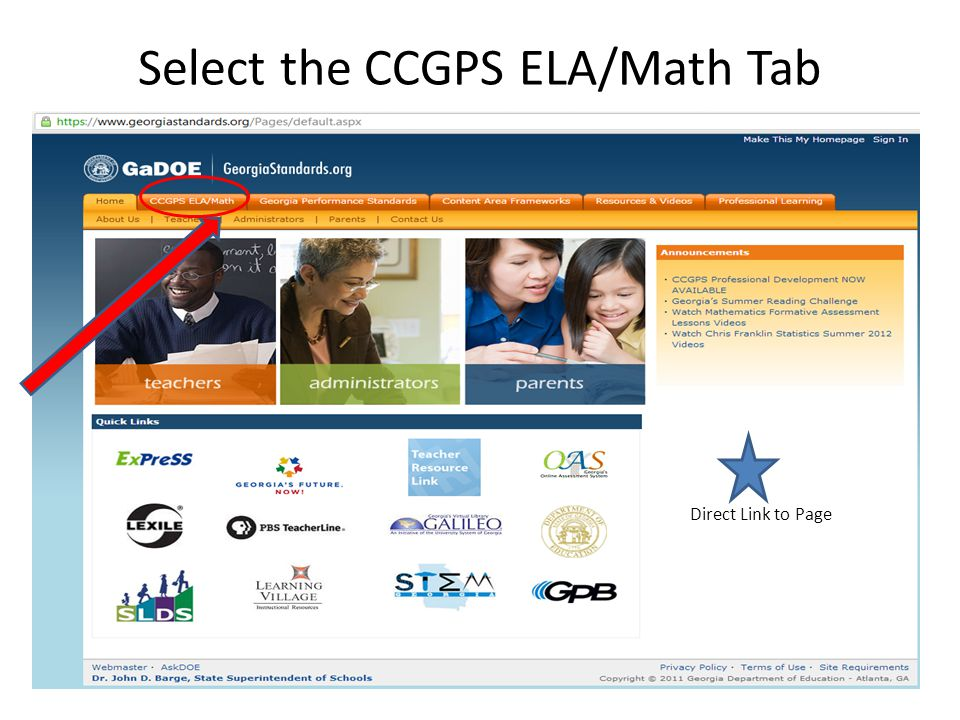 Select the CCGPS ELA/Math Tab Direct Link to Page
