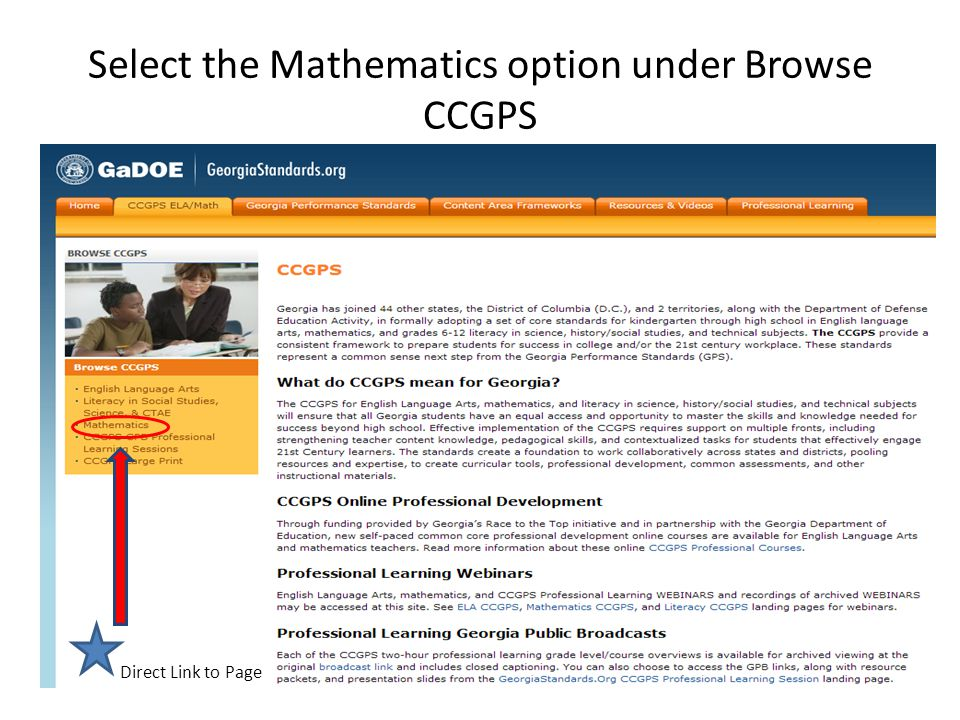 Select the Mathematics option under Browse CCGPS Direct Link to Page