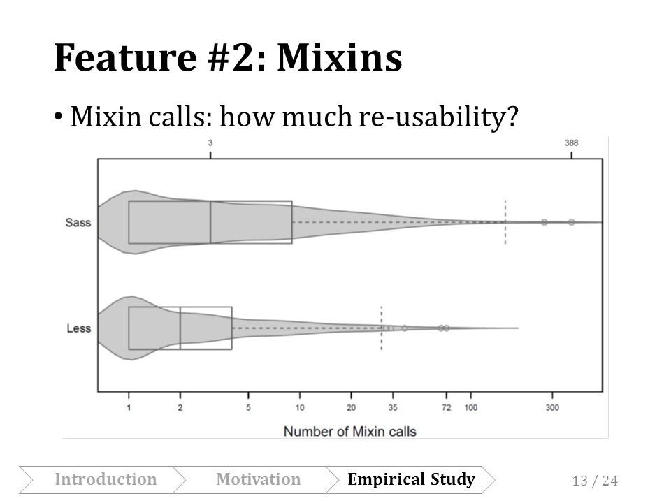 Feature #2: Mixins Mixin calls: how much re-usability.