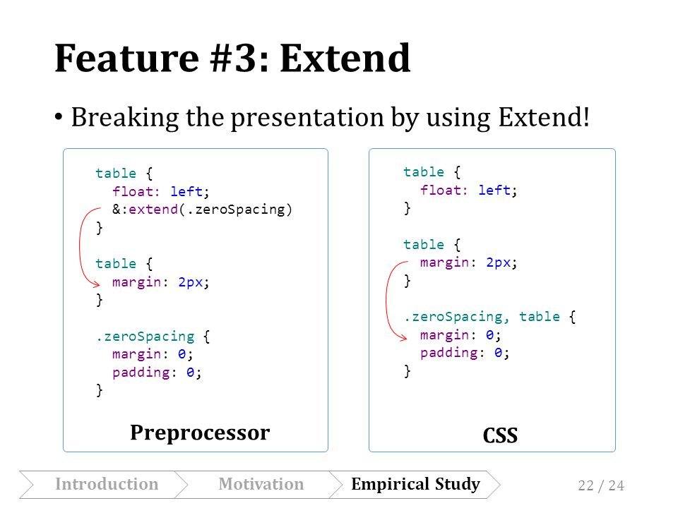 Feature #3: Extend Breaking the presentation by using Extend.