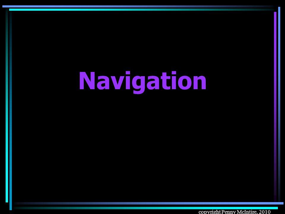 copyright Penny McIntire, 2010 Navigation