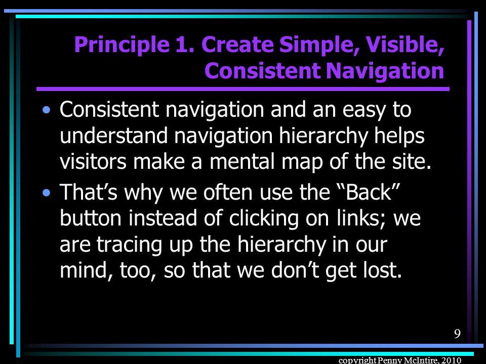 49 copyright Penny McIntire, 2010 Navigational Tools Navigational tools –Navigational text –Navigational graphics