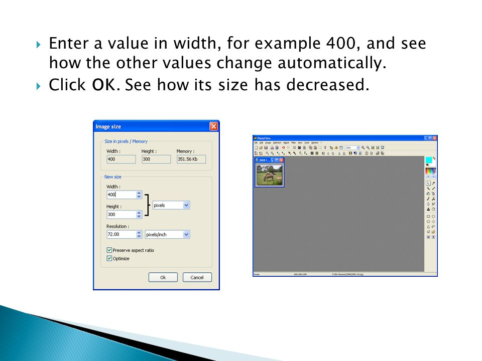  Enter a value in width, for example 400, and see how the other values change automatically.