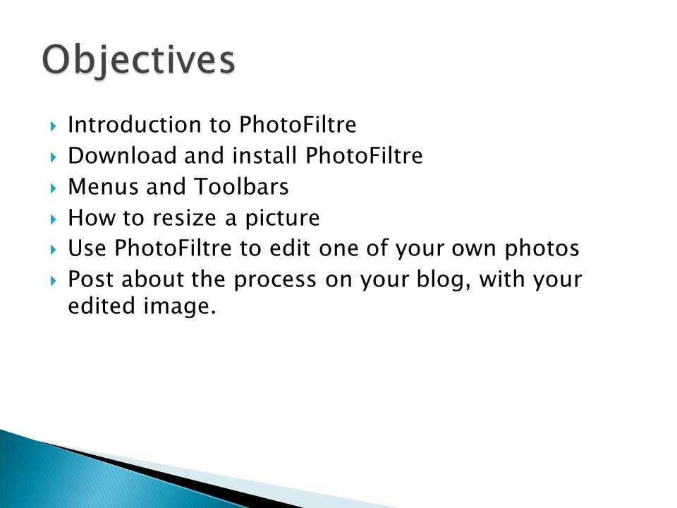  Introduction to PhotoFiltre  Download and install PhotoFiltre  Menus and Toolbars  How to resize a picture  Use PhotoFiltre to edit one of your own photos  Post about the process on your blog, with your edited image.