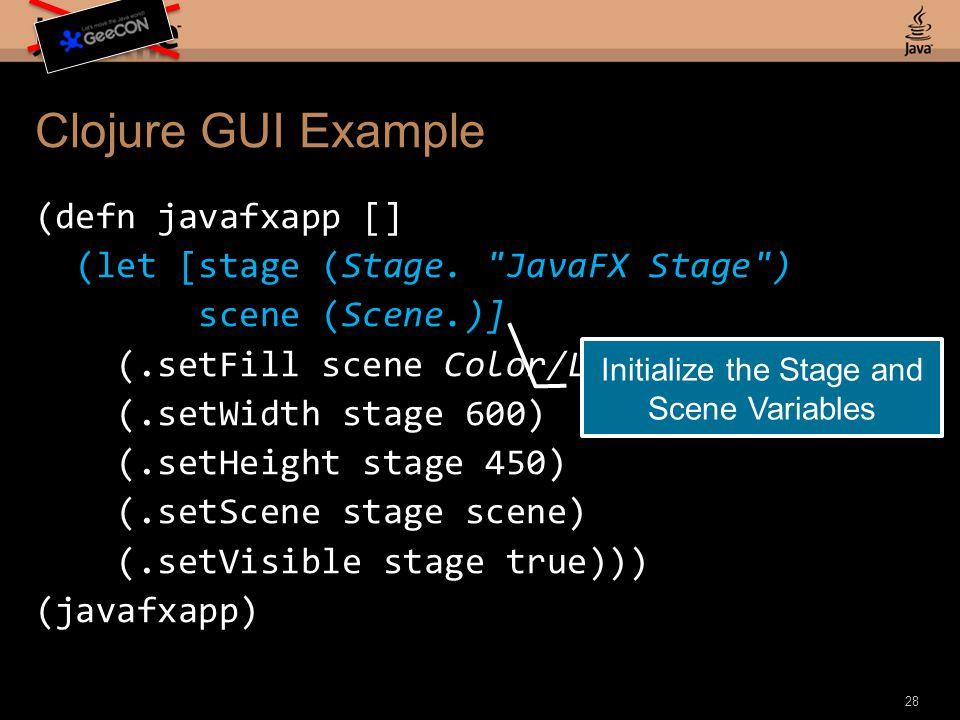 Clojure GUI Example (defn javafxapp [] (let [stage (Stage.
