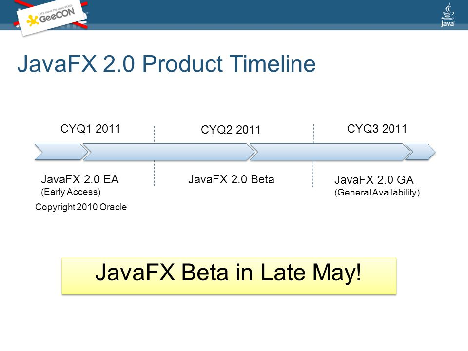 JavaFX 2.0 Product Timeline CYQ1 2011 JavaFX 2.0 EA (Early Access) CYQ2 2011 CYQ3 2011 JavaFX 2.0 Beta JavaFX 2.0 GA (General Availability) Copyright 2010 Oracle JavaFX Beta in Late May!