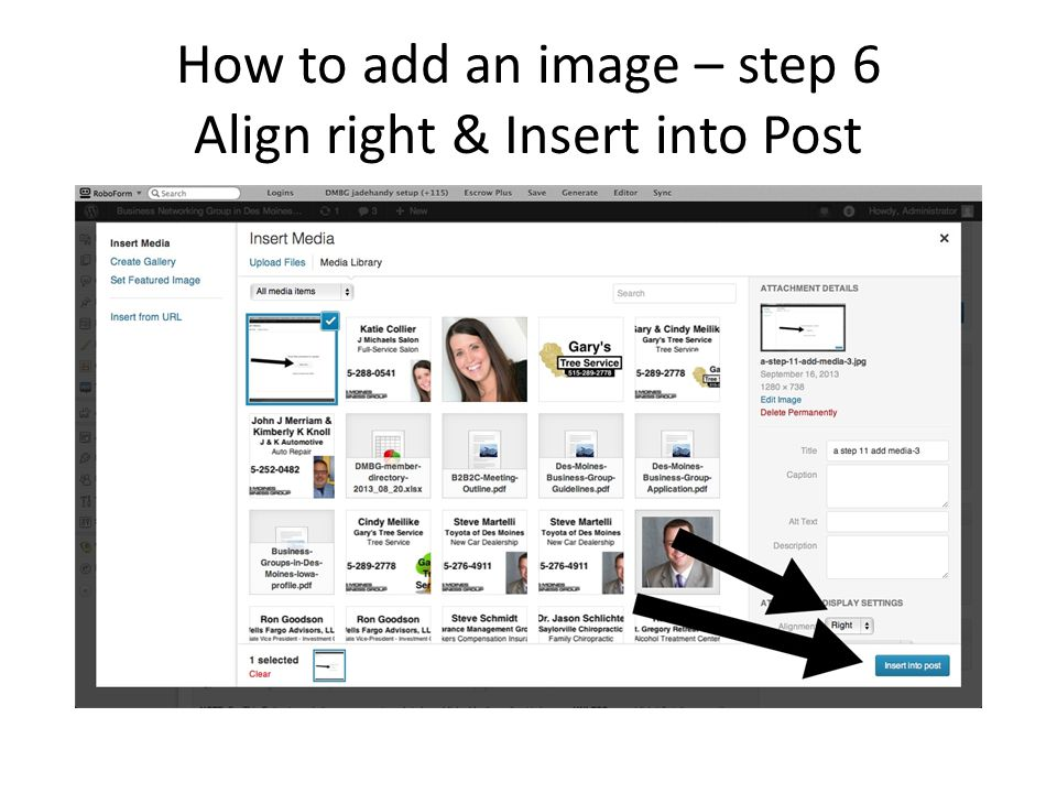 How to add an image – step 6 Align right & Insert into Post
