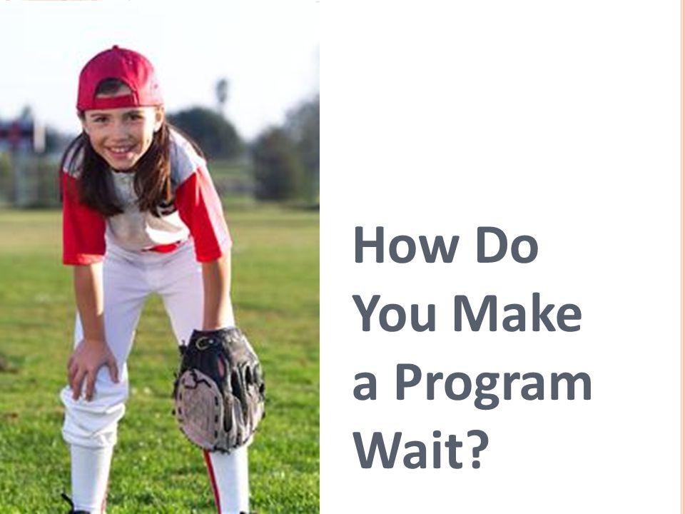 How Do You Make a Program Wait