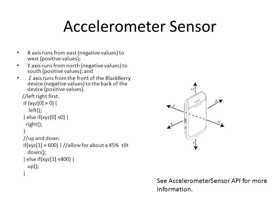 Accelerometer Sensor X axis runs from east (negative values) to west (positive values); Y axis runs from north (negative values) to south (positive values); and Z axis runs from the front of the BlackBerry device (negative values) to the back of the device (positive values).