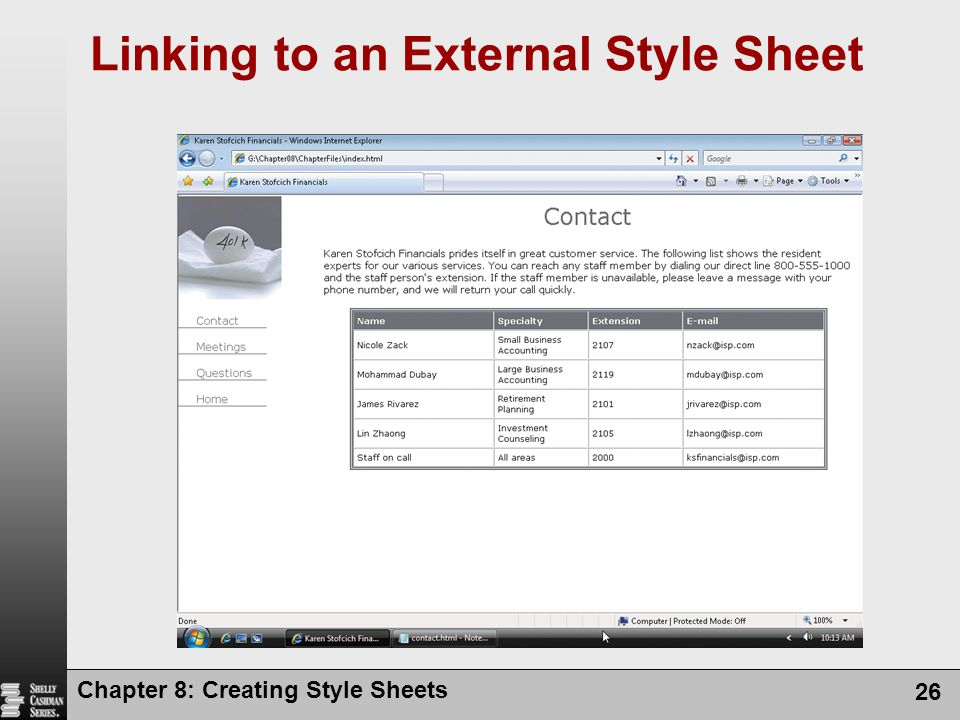 Chapter 8: Creating Style Sheets 26 Linking to an External Style Sheet