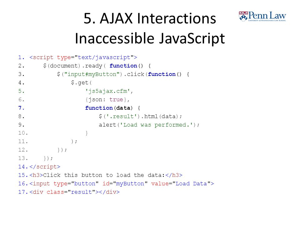 5. AJAX Interactions Inaccessible JavaScript 1. 2.