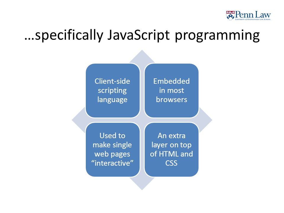 …specifically JavaScript programming Client-side scripting language Embedded in most browsers Used to make single web pages interactive An extra layer on top of HTML and CSS