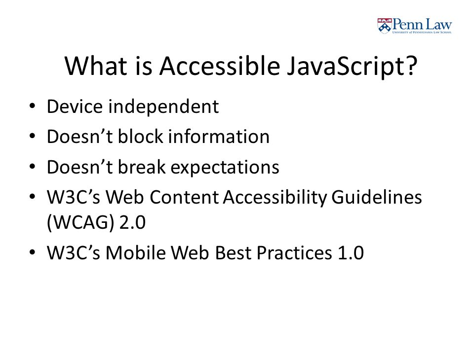What is Accessible JavaScript.