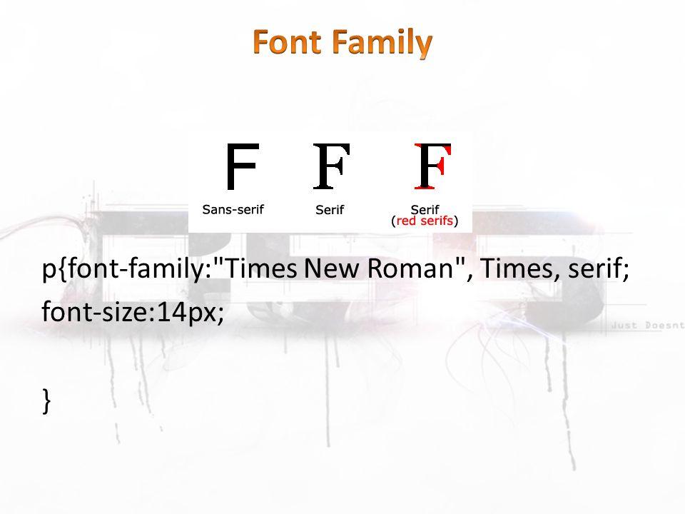 p{font-family: Times New Roman , Times, serif; font-size:14px; }