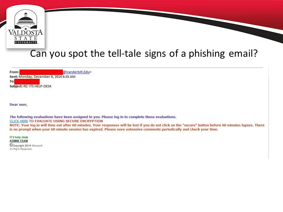 Can you spot the tell-tale signs of a phishing email?