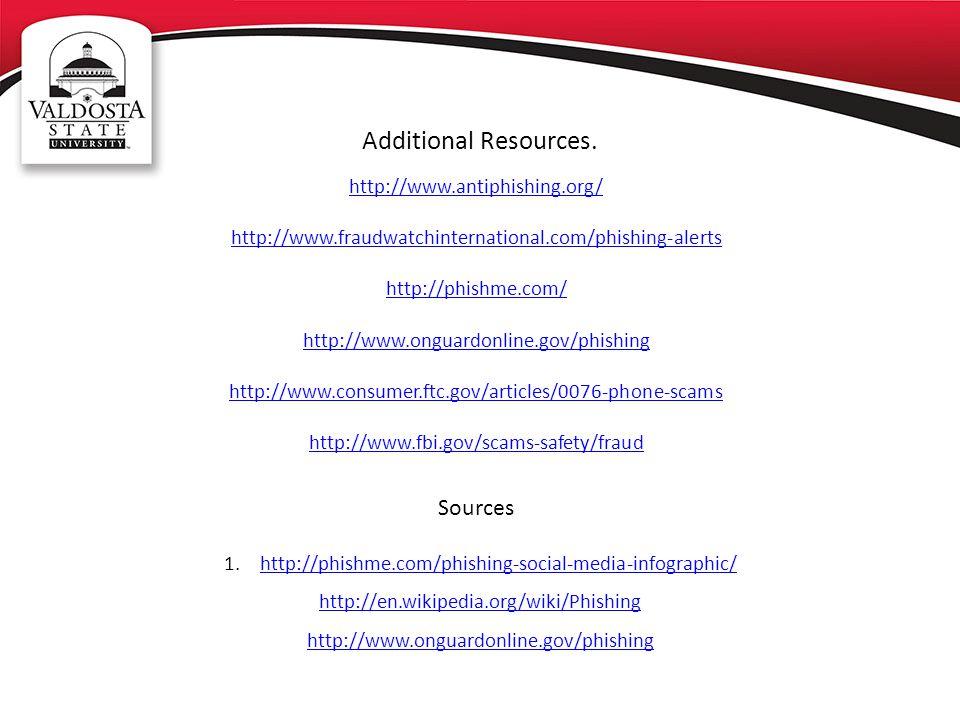 Additional Resources. http://www.antiphishing.org/ http://www.fraudwatchinternational.com/phishing-alerts http://phishme.com/ http://www.onguardonline